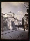 The basilica of the Sacré-Coeur in Montmartre seen from the rue Norvins, 18th arrondissement, Paris