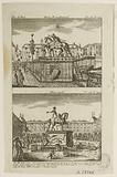 French Revolution: Day of 11 August 1792: Statue of Henri IV by Francheville, square of Pont-Neuf, and statue of Louis …