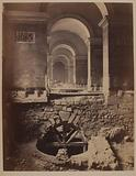 Perspective of the Venus de Milo gallery, relief arch on the side of the cistern, Louvre Palace, excavation of 1883, …