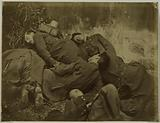 Siege of the Commune, staging of dead soldiers of the Commune, montage, 1871