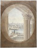 Paris seen from a bull's-eye of the Louvre colonnade