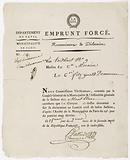 Forced loan n°14 of the department of Paris at the house of citizen Moracin, 15 Brumaire year 2
