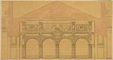 Project for the Palais de l'Industrie: interior elevation of the hall