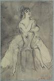 Study of girl astride a chair, front view