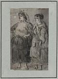 Study of full-length women, hands on hips, one in apron pockets