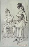 Study of full-length women, dancing skirts, one astride a chair, the other standing leaning on the edge of a table, …