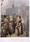 Paris painting. Place de Greve, the public singers, the men and women, waiters burning coffee.
