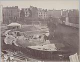 Arènes de Lutèce, excavations of 1870, overview taken from rue Monge, 5th arrondissement, Paris