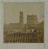 Destruction of the Notre-Dame pump, Notre-Dame bridge, 4th arrondissement, Paris