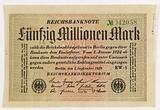State note or check for 50 million marks, Berlin, n°042058, September 1923