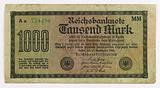 State banknote or check for 1000 marks, Berlin, Aa734496. MM, 15 September 1922.