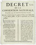 Decree of the National Convention, 27 June 1793, the second year of the French Republic, which puts on the agenda the …