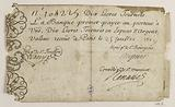 Banknote of 10 pounds tournaments, Bank of Law, n°104225, 25 July 1719