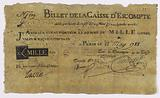 1000-pound note, Caisse d'écompte, n°119-G, Control F ° 10, 22 May 1788