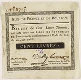 Banknote of 100 livres tournois, Isles de France and Bourbon, n°3715, edict of 10 June 1788