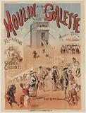 Moulin de la Galette. Restaurant. Trade fairs. Cabinets. Games Garden. Rue Lepic (Montmartre).