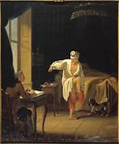 Voltaire at his rising in Ferney, dictating to his secretary Collini