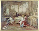 Portrait of Victorien Sardou, his wife and children in the large living room of their house in Marly-le-Roi