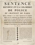 Sentence. Returned to the Police Chamber of Chatelet de Paris, Who Orders the widow Sommereau & wife.
