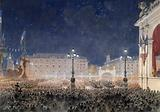 Torchlight retreat on the Town Hall square. Franco-Russian celebrations, October 1893.