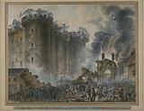 View of the siege and the Storming of the Bastille. The Governor and the Garrison were taken prisoner on 14 July 1789.