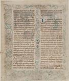 First page of an illuminated manuscript of the statues of the brotherhood of Saint-Côme and Saint-Damien (brotherhood …)