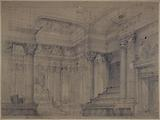 """Planning project for a ceremonial hall in court? (Note the letters """"R F."""" and the allegories; scales, bundles etc.)"""