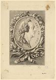 Louis XV in profile to the right