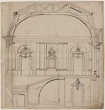 Cross-section of the grand staircase of the archiepiscopal palace of Toulouse, sketch of the executed project, s. D.