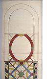 Colour study for a stained-glass window with vegetal and geometric decoration