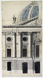 Facade of a palace, with columns, statues, bull's eye, a tympanum surmounted by a dome, probably a project for a …