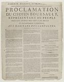 Liberte, Egalite, Humani [?], Proclamation of Citizen Boursault, Representative of the People Pres les Armees des …