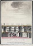 Cross-section of the dependent gallery and the grand staircase, taken on the GH line of the Mont de Piété auction …