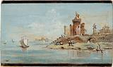 Caprice, with a ruined fortress by the lagoon