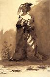 Naked woman under a coat wearing a feather in her cap