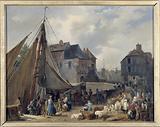 The port of Honfleur, the loading of the cattle