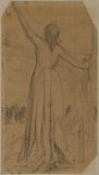 Woman standing from behind, dressed, raising her left arm and holding a bayonet in her right hand [study for the …]