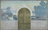 Sketch for the wedding hall of the town hall of Asnières: Landscape. Barges on the Seine, with the Asnières bridge.