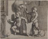 Two naked children wearing an empty crest