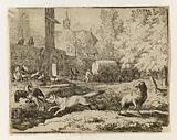 Le Roman de Renard: 22-The Fox, continuing his way to the lion's court, wants to seize a rooster and is reprimanded by …