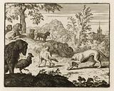 Le Roman de Renard: 56-The Lion and the Council of Animals having allowed a fight between the wolf and the fox, the …