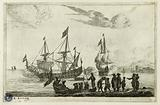 Some seaports n°7: Port scene with figures on the shore