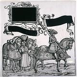 The Triumphal Procession of Emperor Maximilian I: Sign-bearer on horseback, a page, a Hungarian