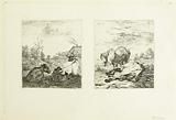 The Cow and the Calf and The Two Horses, two prints on the same sheet