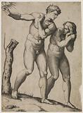 Adam and Eve fleeing from paradise according to Raphael at the Sistine (sic)