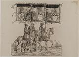 The Triumph of Emperor Maximilian I: Eightieth plate, the Burgundian territories (banners with the arms of Burgundy, …)