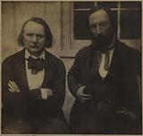 """Victor Hugo and Auguste Vacquerie in front of the greenhouse at Marine Terrace (in the work """"Profiles and grimaces"""" by …)"""