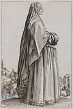 The Nobility, The Lady wearing a large veil and a dress lined with furs. Fifth issue of a suite of 12 pieces.