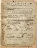 French Revolution: Certificate of residence, issued to citizen Pierre Claude Laroche, notary, by Laurent, commissioner …