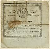 Citizen Sucher's security card (?) Issued on 29 Brumaire year II by the surveillance committee of Clichy-la-Garenne, …